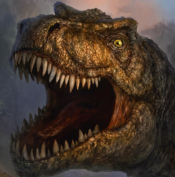 T-Rex Finished CLOSE UP FACE. by chrisscalf