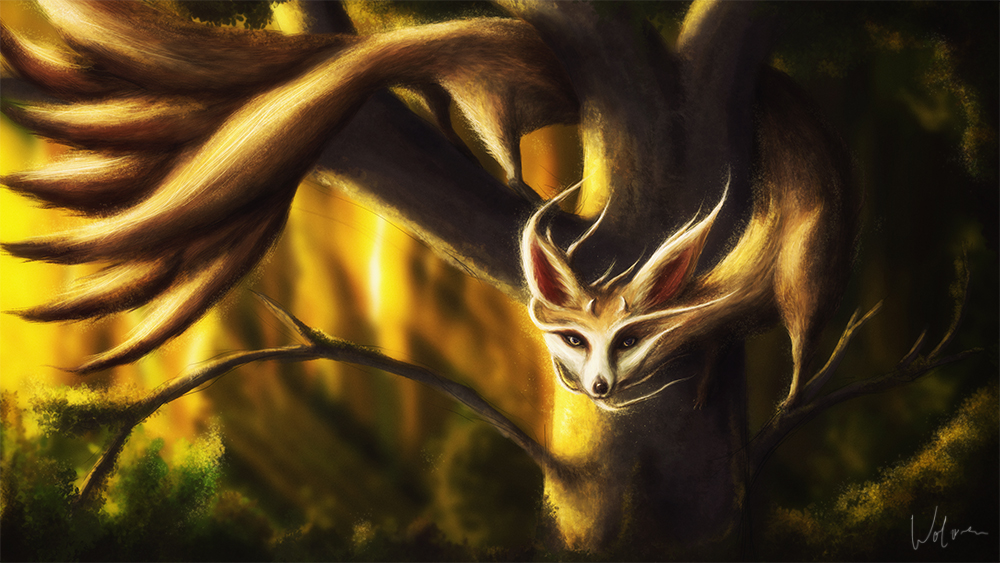 Little seven Tails Foxdragon by Wolves-PSD
