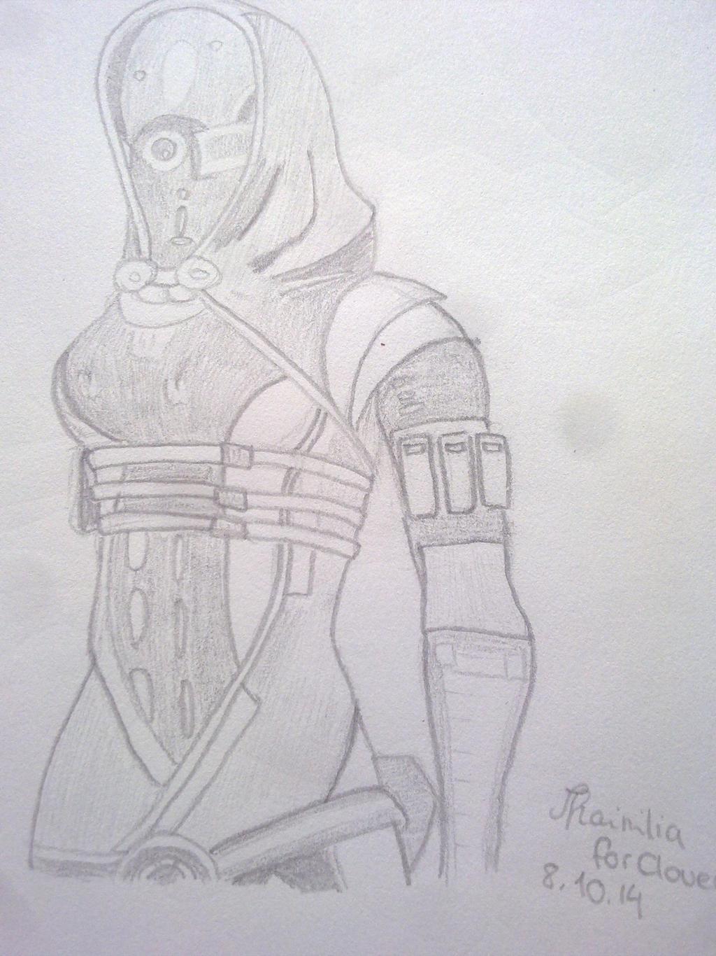 2. Birthday Sketch for TheClover19 Tali'Zorah :3