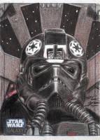 Star Wars G6 - Tie Fighter Pilot Sketch Art Card by DenaeFrazierStudios