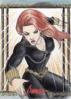 MGH Avengers - Black Widow Sketch Art Card by DenaeFrazierStudios