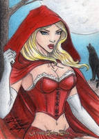Grimm Fairy Tales-Red Riding Hood Sketch Art Card by DenaeFrazierStudios