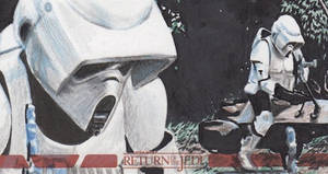 Star Wars ROTJ - Biker Scout Sketch Card - ARC by DenaeFrazierStudios