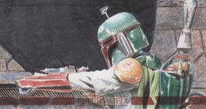 Star Wars ROTJ 3D - Boba Fett Sketch Card by DenaeFrazierStudios