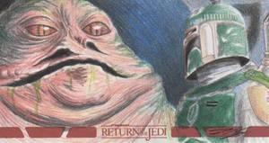 Star Wars ROTJ - Jabba-Boba Fett Sketch Card by DenaeFrazierStudios