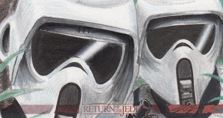 Star Wars ROTJ 3D - Scout Troopers Sketch Card 2 by DenaeFrazierStudios