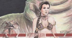 Star Wars ROTJ 3D - Slave Leia Sketch Card by DenaeFrazierStudios