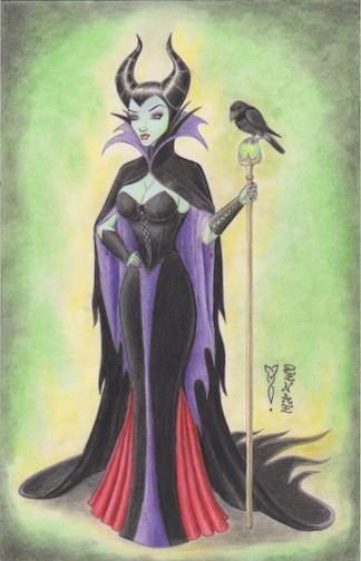 Maleficent with Diablo Original Art by Denae