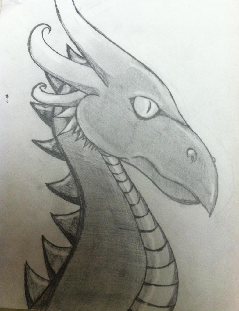 Pencil Sketch of a Dragon Head by draggydrago on DeviantArt
