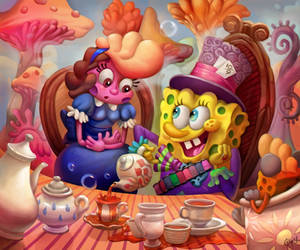 laura and spongebob by irenetall