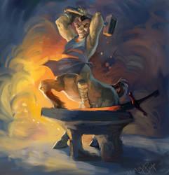 Blacksmith centaur by irenetall