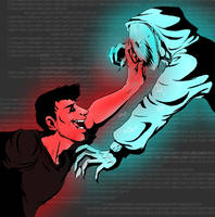 Darkiplier VS Virus!Cryaotic by Fancy-Indigo