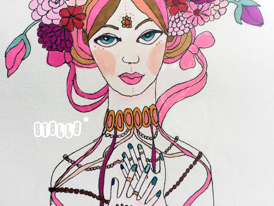 Girl with flower crown by brinylon