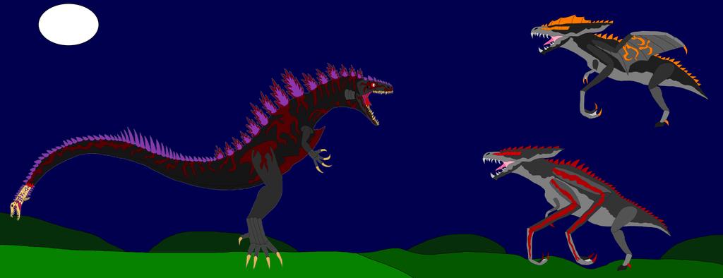 Shin Godzilla vs. the MUTO's by TeamDinosauria21 on DeviantArt