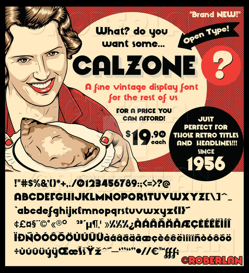 Calzone Font Sample by roberlan