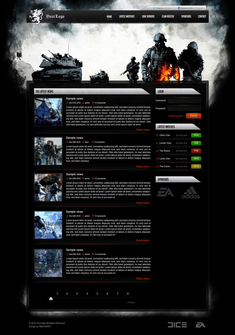 Clan Website Templates Boatjeremyeatonco - Gaming website template
