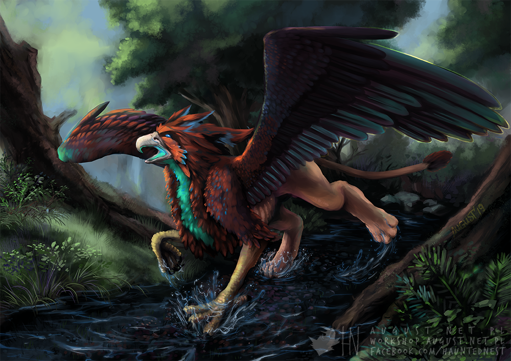 Playful Griffin by AugustAnna