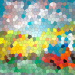 Colored red, blue, pink geometric mosaic backgroun