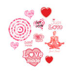 Cute set of hearts and symbols