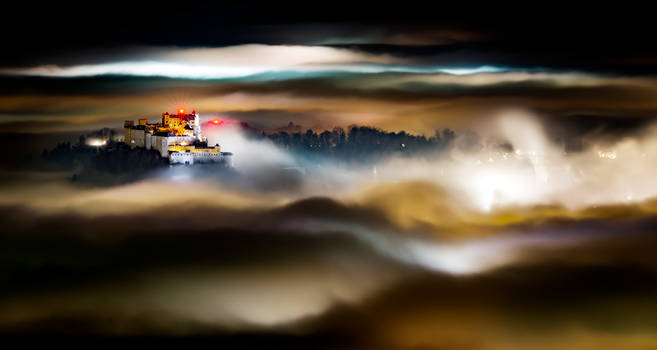 Fortress in a sea of fog