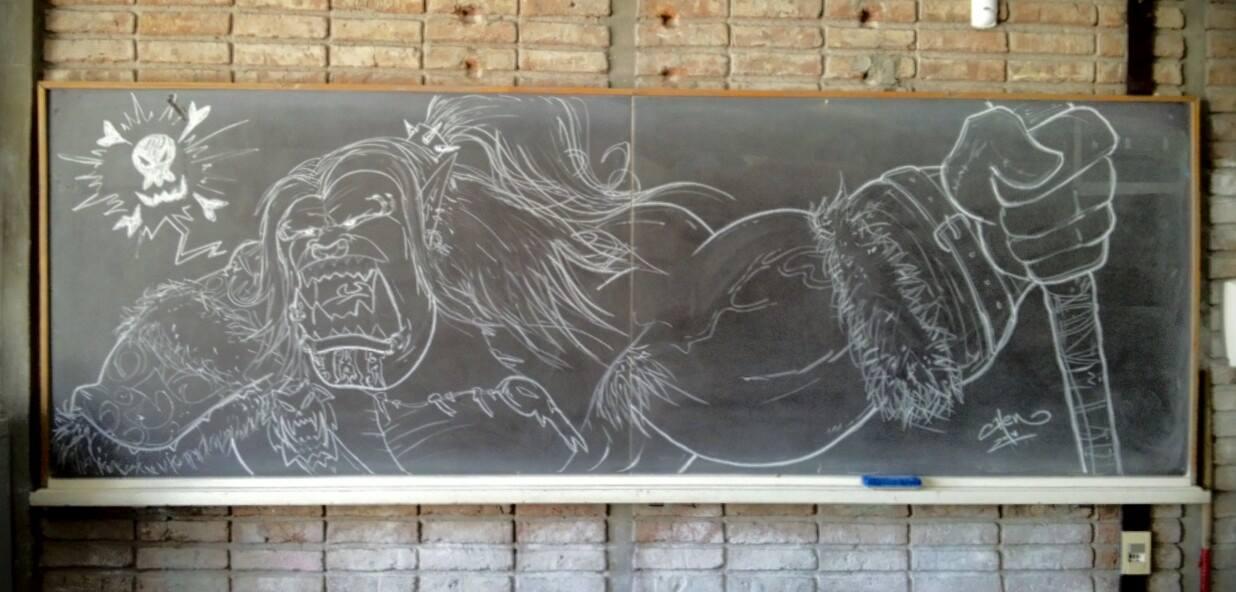 Grommash on Blackboard by Henderzon