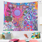 Red Flower Abstract Wall Tapestry