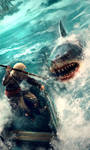 Edward Kenway fighting a shark