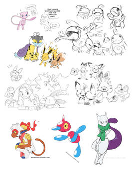 Request - Sketches Infernape ProygonZ  and Mewtwo