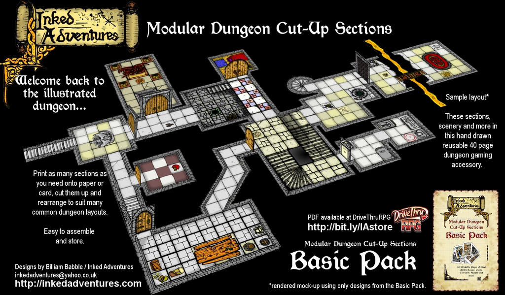 Promo Inked Adventures dungeon map layout by billiambabble