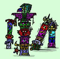 Monster Totempole by billiambabble