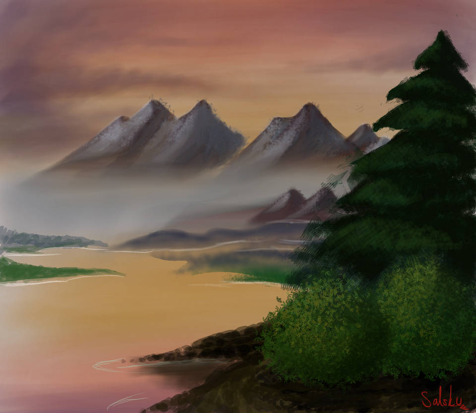 Digital Bob Ross painting attempt by Sairu-chan
