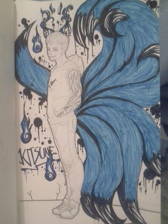 .:New Year's Graffiti:. Kitsune by Melomiku