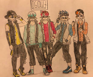 .:Splatoon Fan Characters:. BTI Uniforms by Melomiku