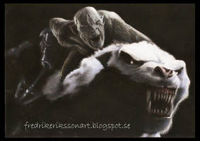 Azog the pale orc on his warg in Bilbo by FredrikEriksson1