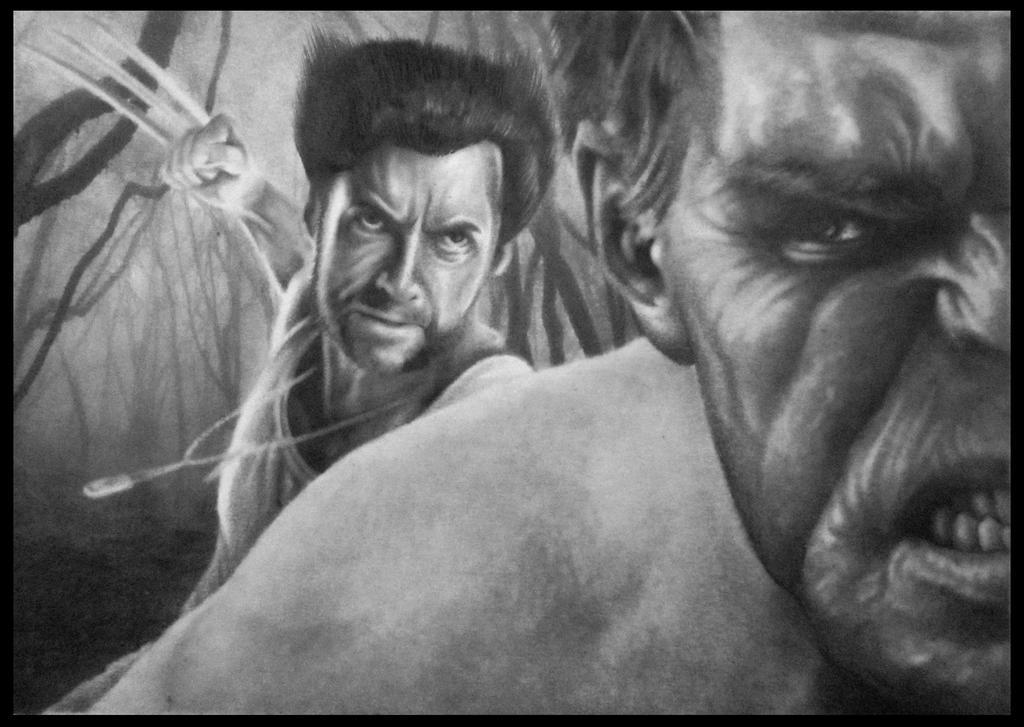 Wolverine attacks Hulk by FredrikEriksson1