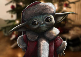 Baby yoda wishes you a merry Christmas