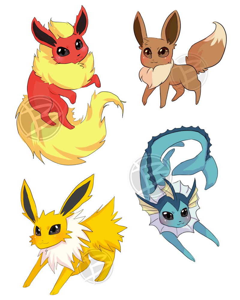 Eeveelution Sticker Batch 1 by Little-Miss-Boxie
