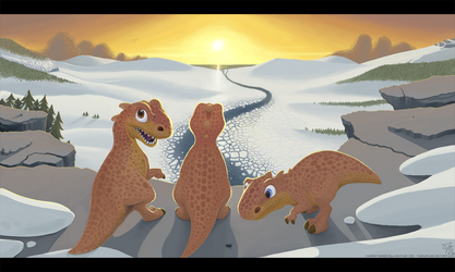 Sunset Ice Age Dinos by thazumi