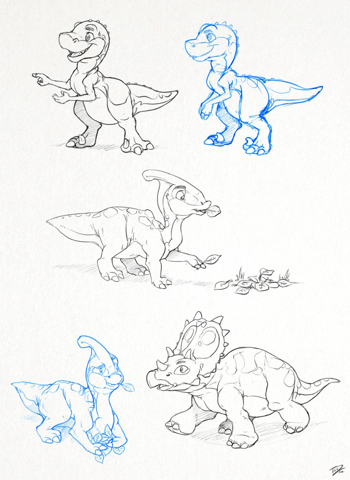 More Dinosaur Sketches by thazumi