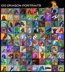 100 DRAGON PORTRAITS by thazumi