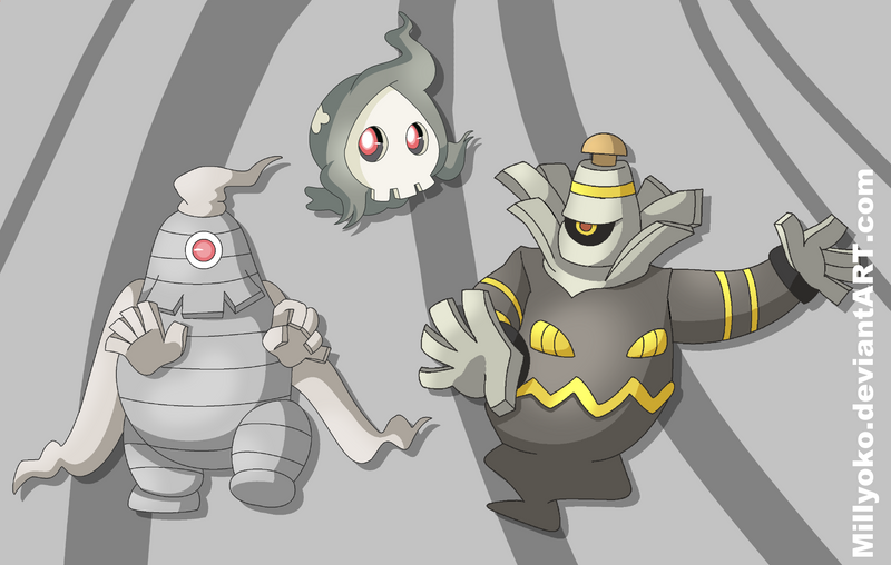 Duskull, Dusclops and Dusknoir by Millyoko