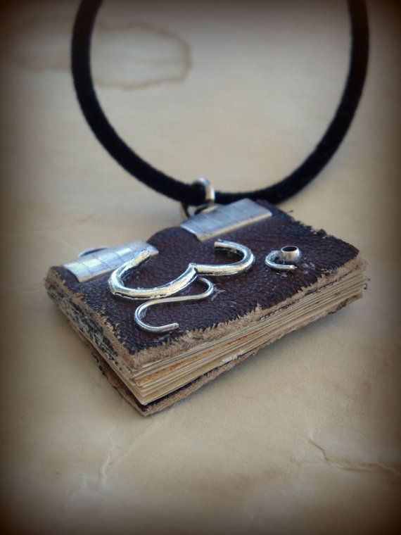 Om and Lotus Flower Mini Book Necklace by DrywKapnobatis