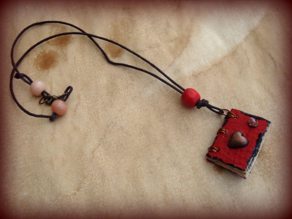 Heart Mini Book Necklace by DrywKapnobatis