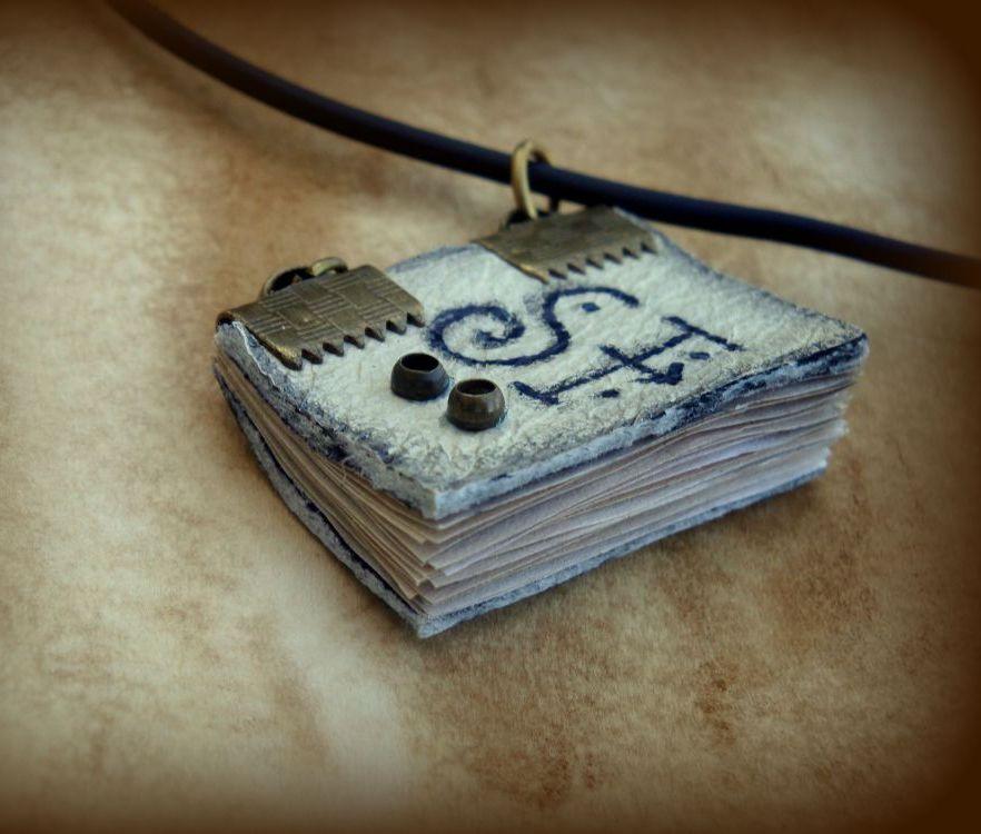 Custom Initials Mini Book Necklace by DrywKapnobatis