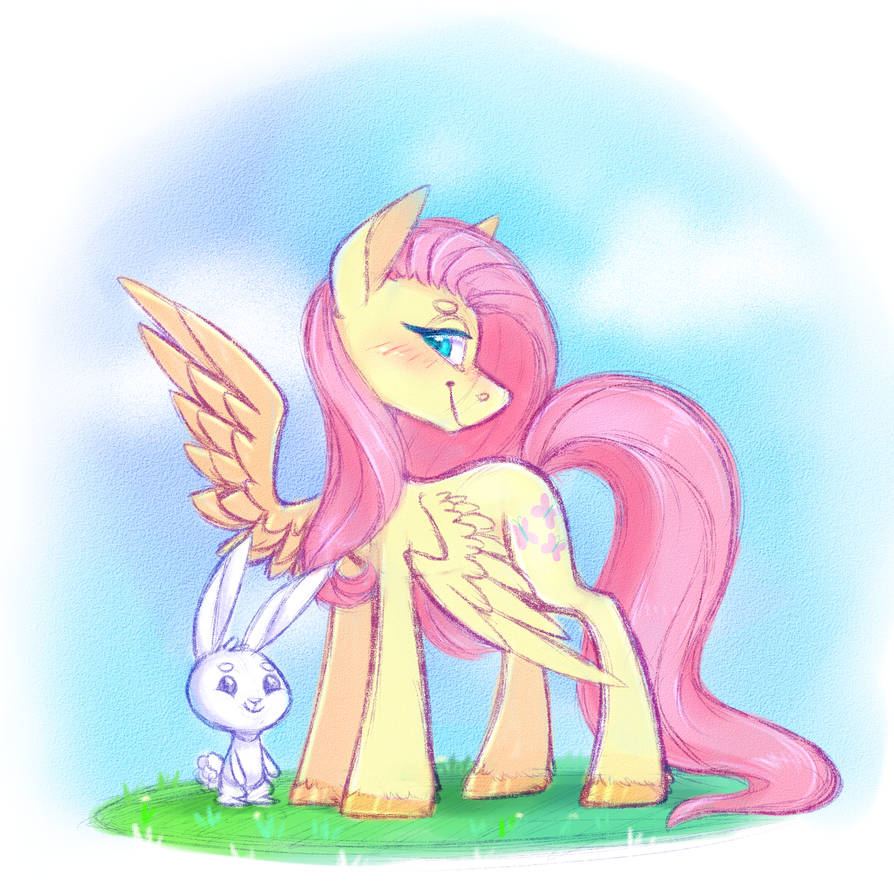 Fluttershy and Angel by Pinipy