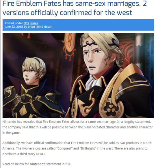 Fire Emblem  Same Sex Marriage Confirmed by malerfique