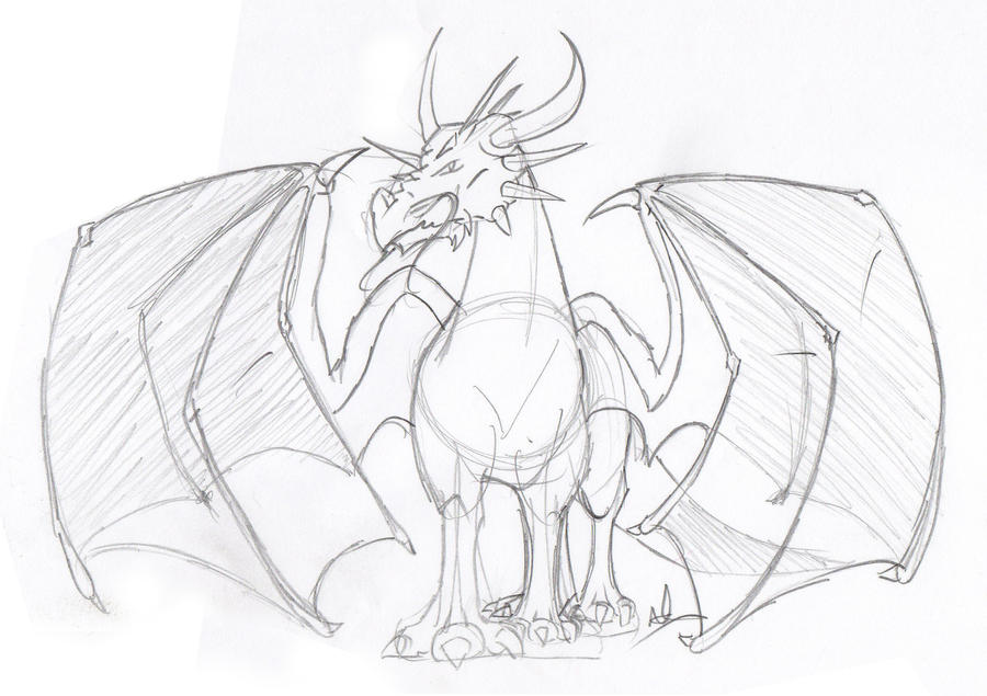 Dragon drawing by DiablHorse on DeviantArt