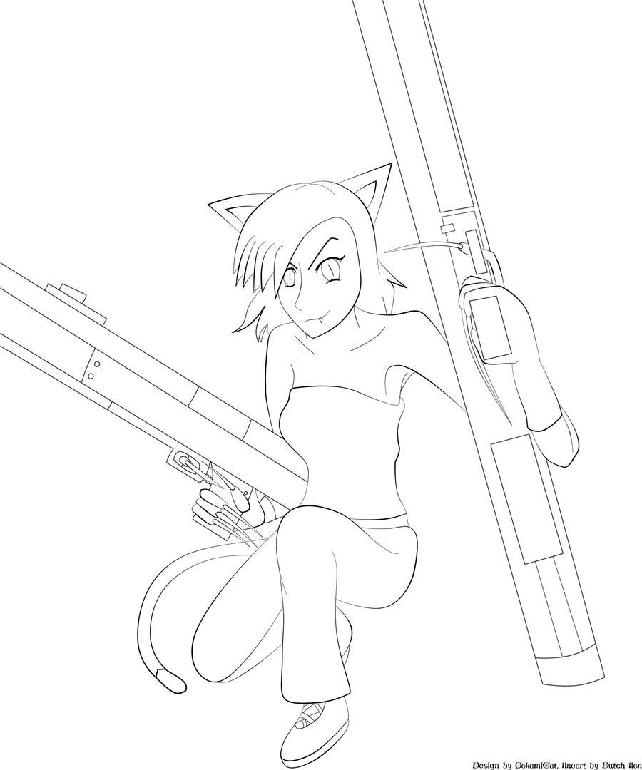 Line Art Gun : Big guns lineart by dutchlion on deviantart