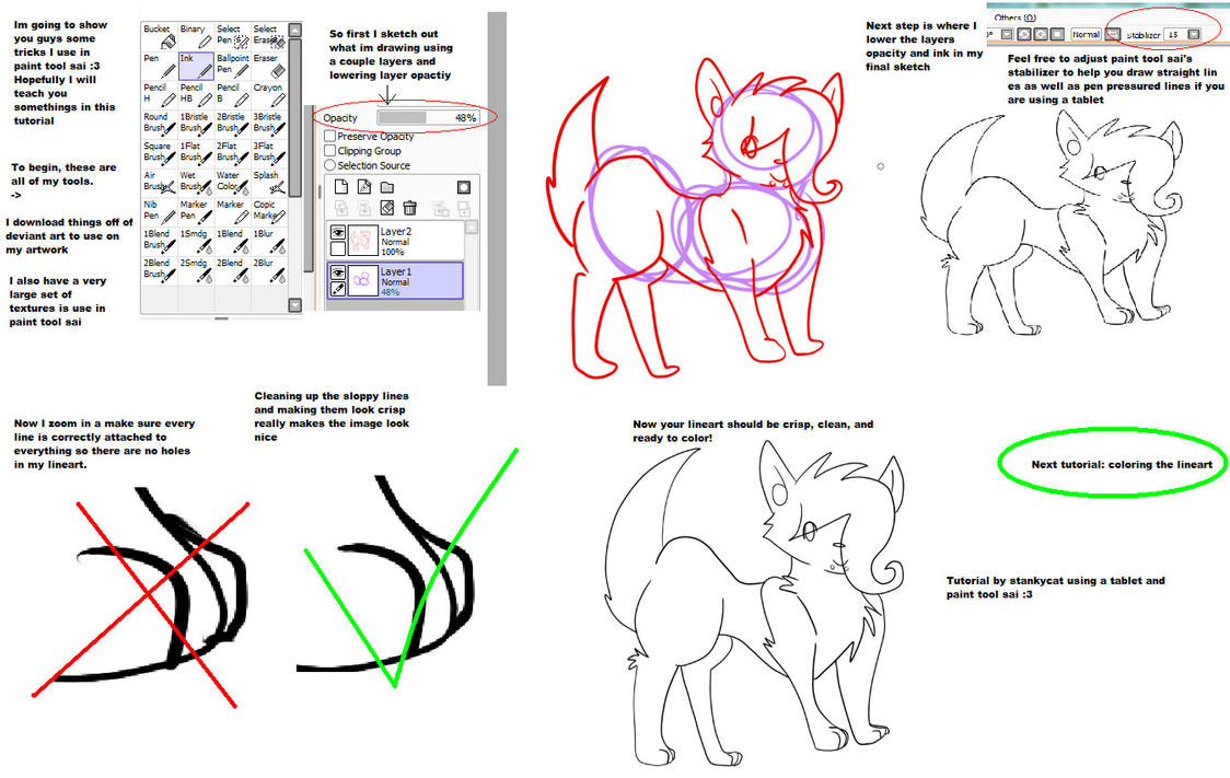 Sai Lineart : Line art tutorial in sai by cutiep on deviantart
