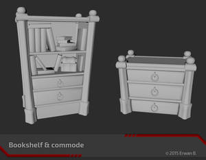 Bookshelf and commode (no texture)